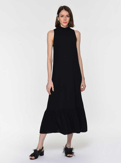 SLEEVELESS MOCKNECK MAXIDRESS