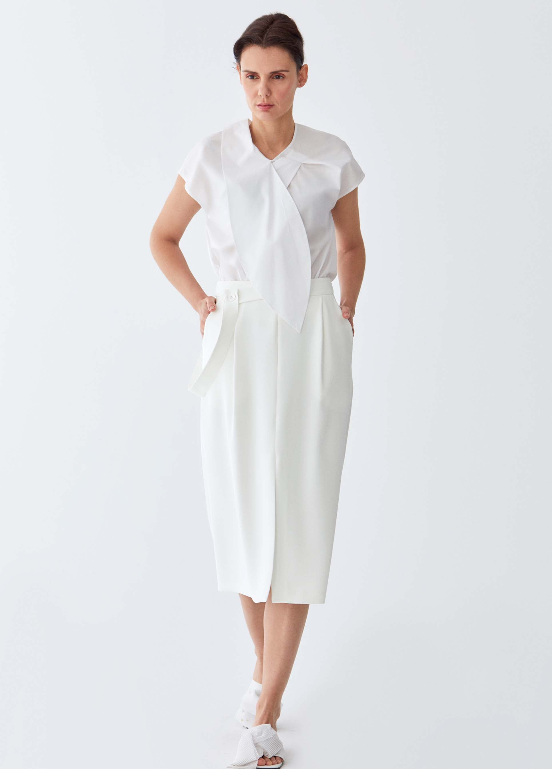 ROMAN USA-Classic Cream Waist-Detailed Skirt-- [CREAM]