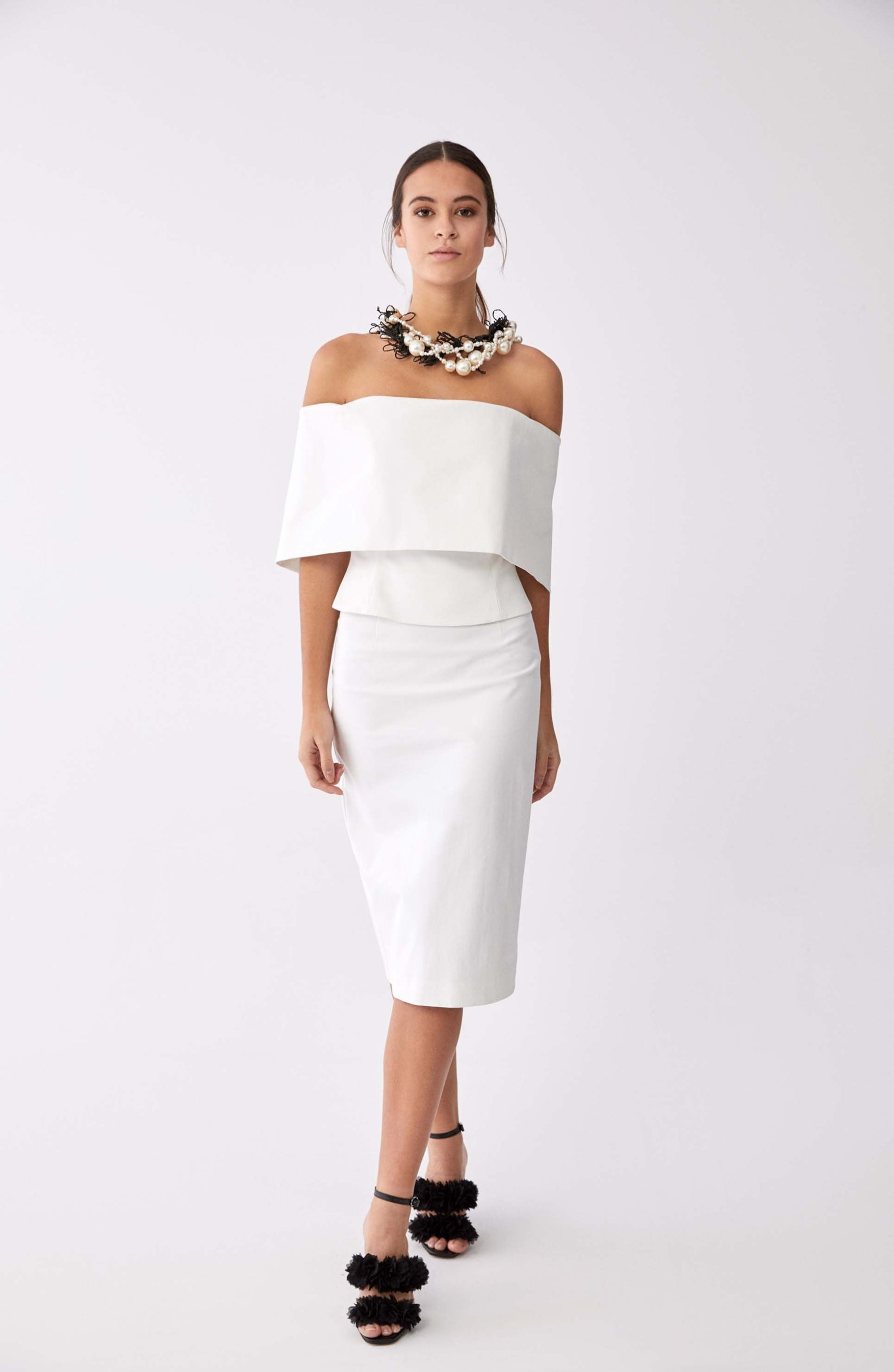 ROMAN USA- [WHITE] Tapered Tea Length Skirt-- [WHITE]