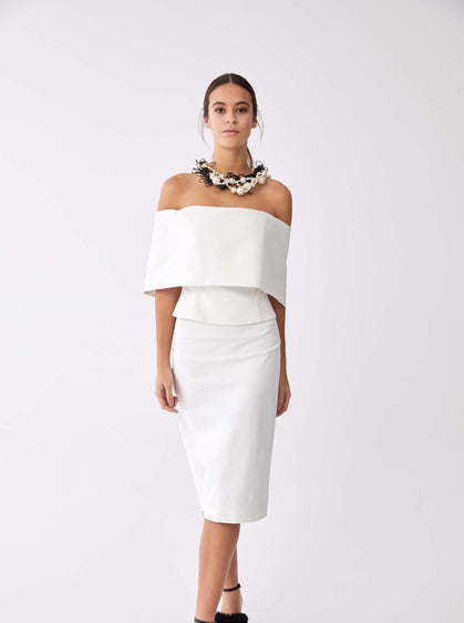 White Tapered Tea Length Skirt
