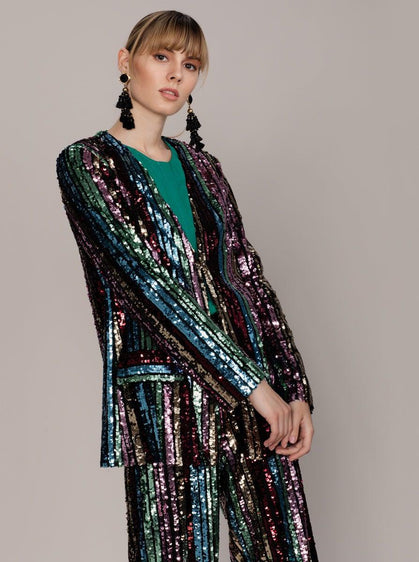 ROMAN USA-Rainbow Sequin Blazer-- [ORIGINAL]