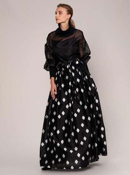 BELT DETAILED LONG SKIRT