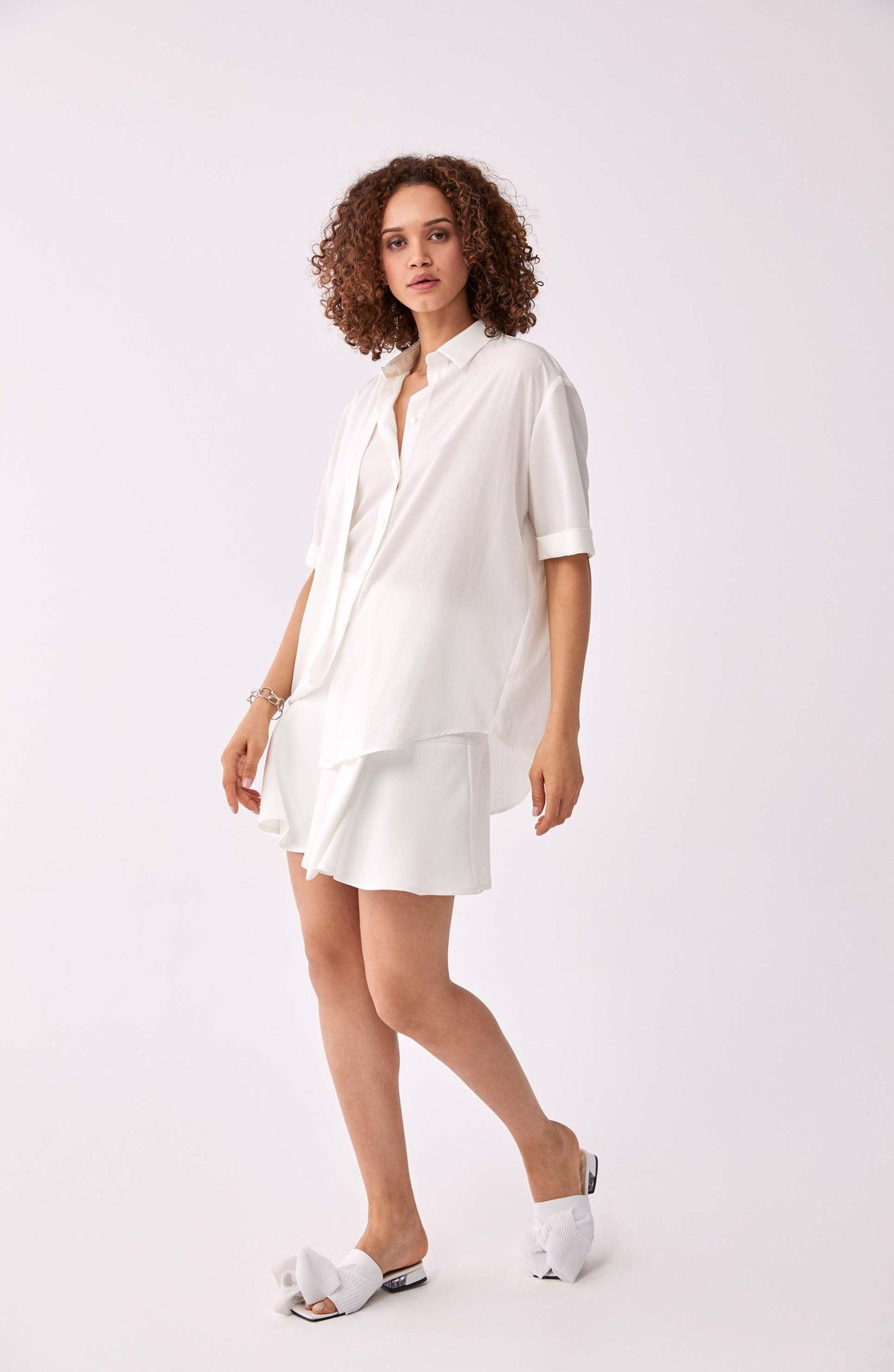 ROMAN USA-Fold-Up Detailed Blouse-- [CREAM]