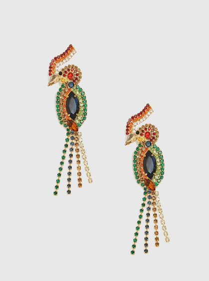 ROMAN USA-Jeweled Parrot Statement Earring-