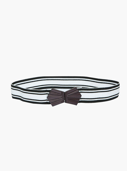 Accessories - Black And White Striped Belt