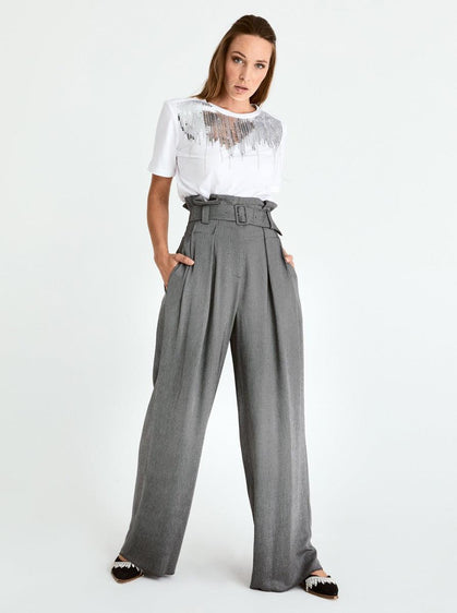 ROMAN USA-High Waisted Tulip Pant-- [GREY]