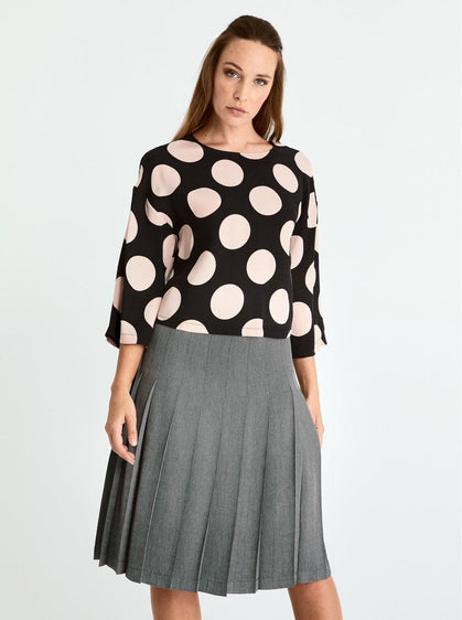 Polka Dot Scoop Neck Blouse