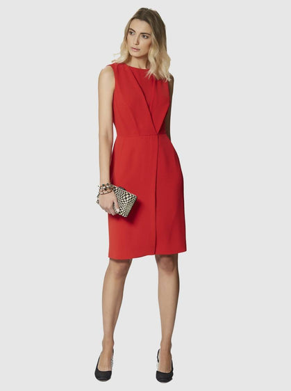 ROMAN USA-High Neck Sheath Dress-- [RED]