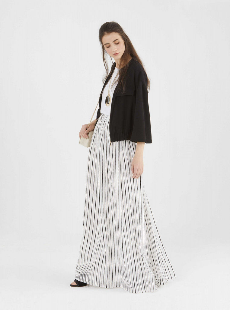 Apparel - BLACK AND WHITE MAXI SKIRT