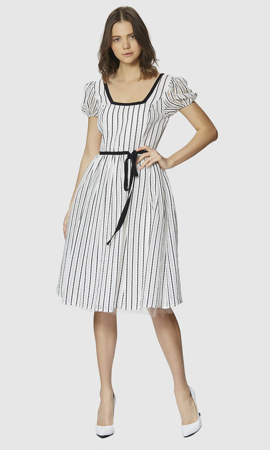 BLACK AND WHITE PUFF DRESS