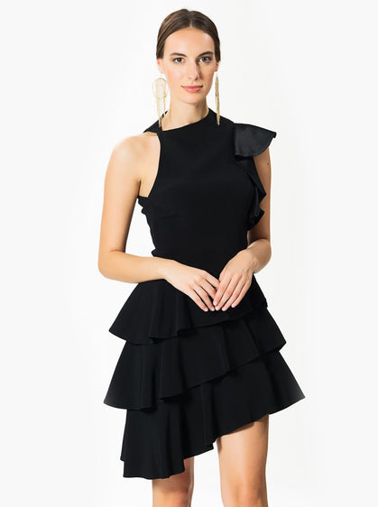 Apparel - BLACK ASYMMETRIC DRESS
