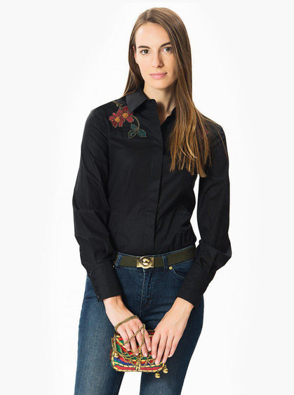 Apparel - Black Blouse With Floral Embellishment