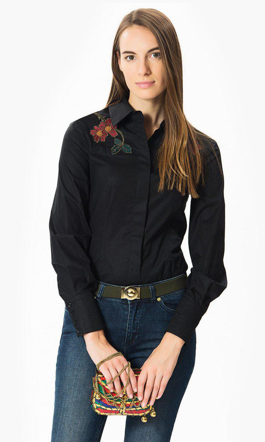 Black Blouse With Floral Embellishment