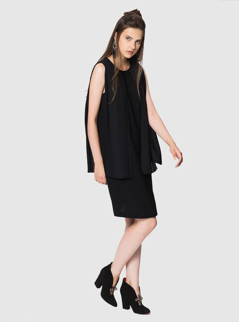 Apparel - BLACK PLEATED DRESS