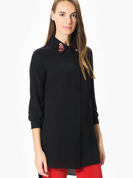 Apparel - Black Tunic Butterfly Detailed Collar