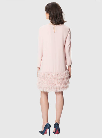 Apparel - BLUSH DRESS WITH FEATHERS