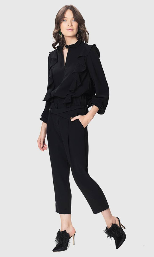 BUTTON DETAILED BLACK PANTS