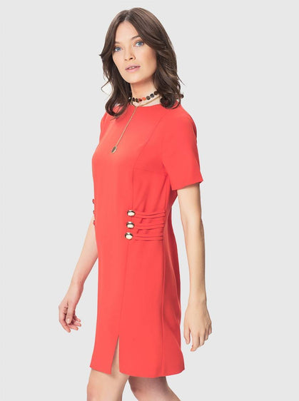 ROMAN USA-Triple Button Sheath Dress-
