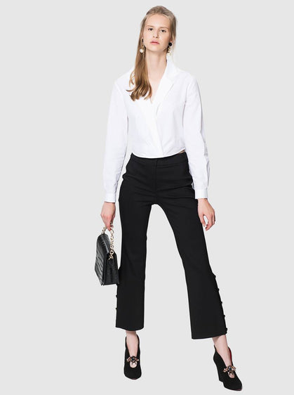 ROMAN USA-Button-Lined Cropped Flare Pant-- [BLACK]