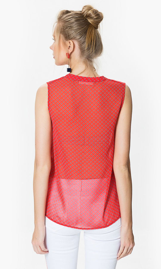 Apparel - COLLARLES POLKA DOT TOP