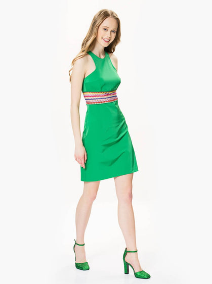 Apparel - COLORFUL DETAILED GREEN DRESS