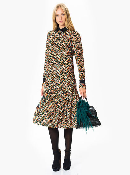 ROMAN USA-Colorful Print Midi Dress-- [PRINT]