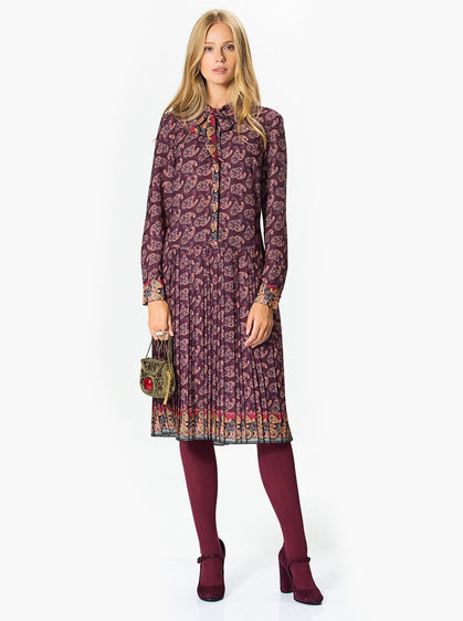 ROMAN USA-Colorful Print Purple Midi Dress-- [PRINT]