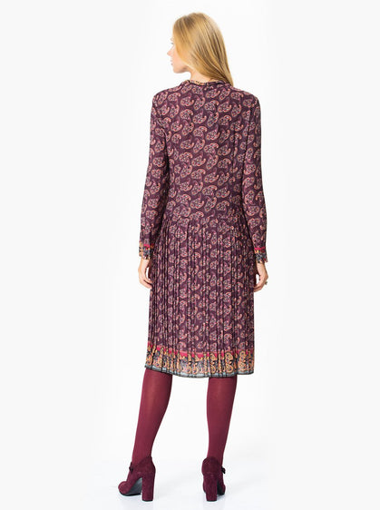 Apparel - Colorful Print Purple Midi Dress