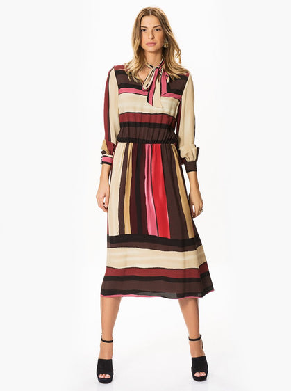 ROMAN USA-Stripe-Blocked Midi Dress-- [PINK]