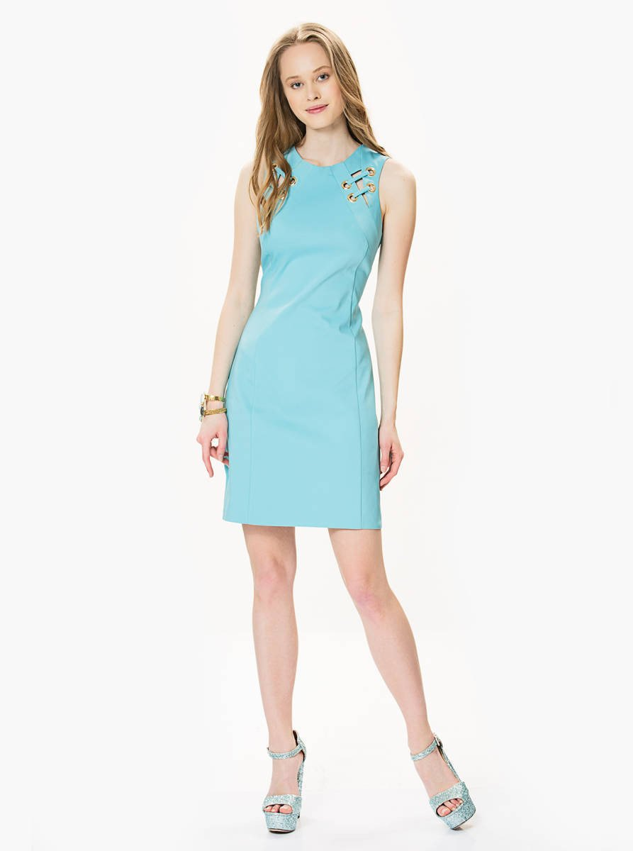 ROMAN USA-Ring Detail Sheath Dress-- [SALMON]