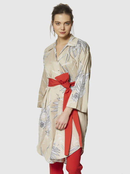 Cotton Wide Sleeve Wrap Dress