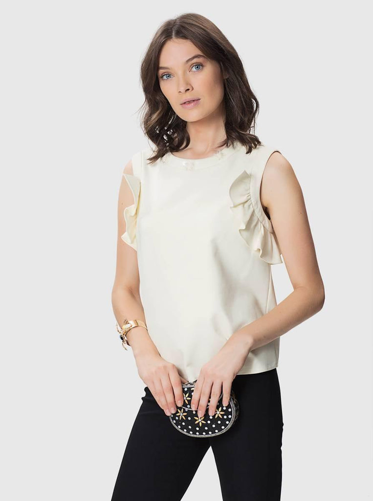 Apparel - CREAM SLEEVELESS TOP