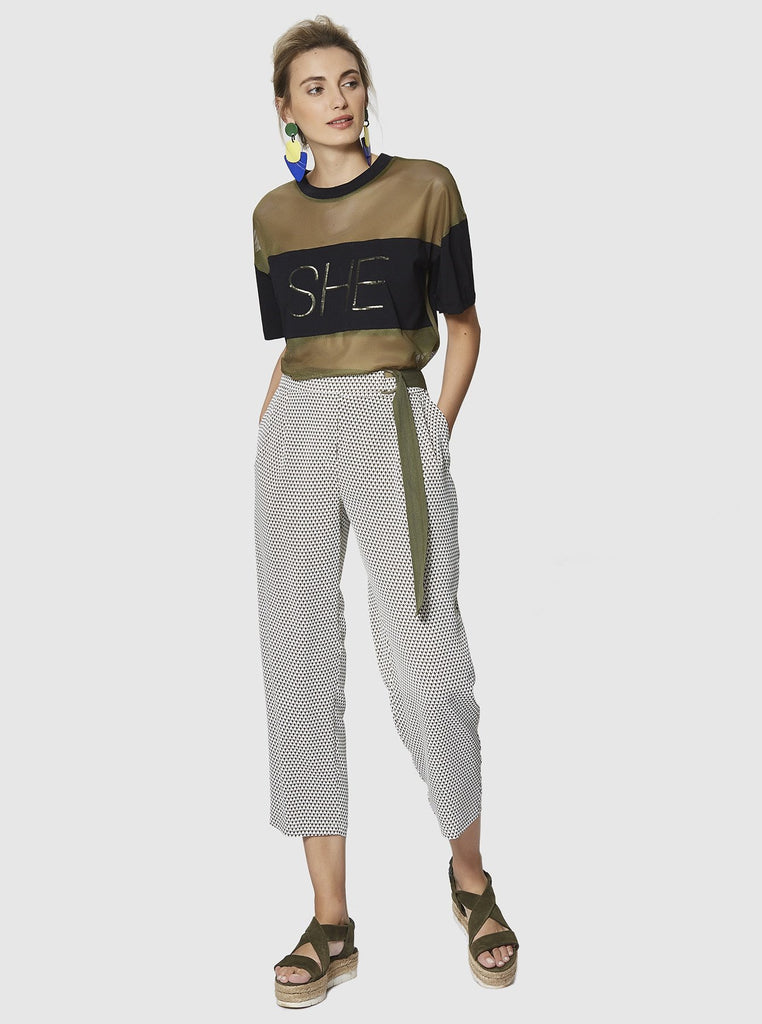 Apparel - CROPPED FLUID PANTS