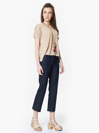 Denim Designed Flare Pants