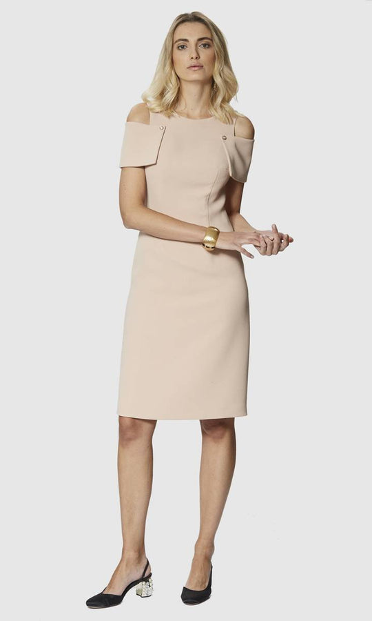 DROPPED SHOULDER BEIGE DRESS