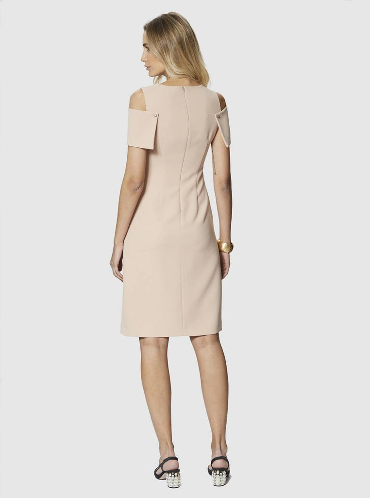 Apparel - DROPPED SHOULDER BEIGE DRESS