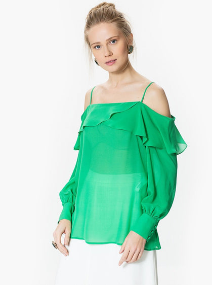 DROPPED SHOULDER TOP WITH RUFFLE