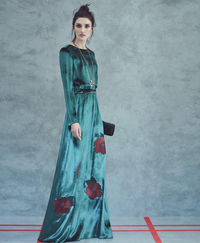 Apparel - EMBELLISHED GREEN VELVET GOWN