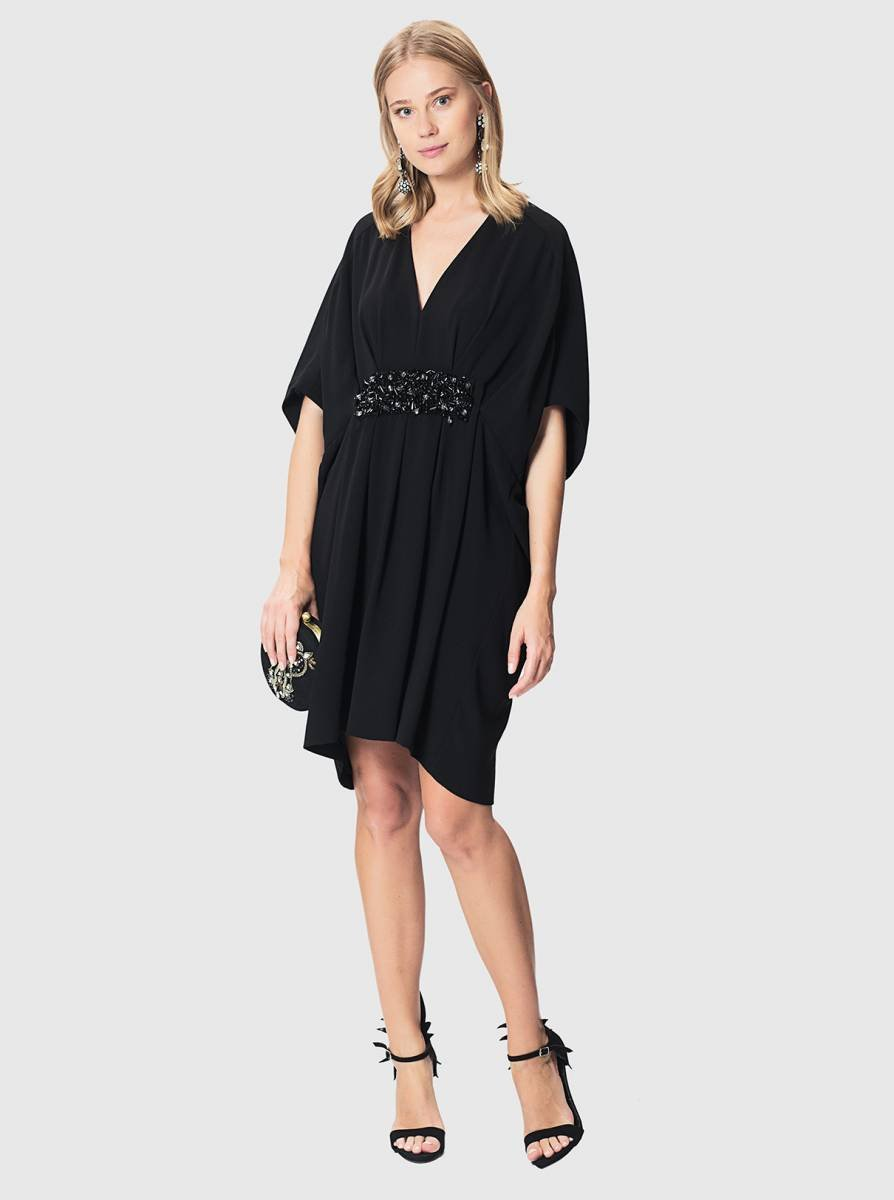 ROMAN USA-Embellished Dolman LBD-- [BLACK]