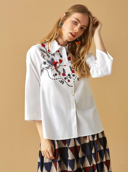 Apparel - EMBROIDERED COTTON TOP