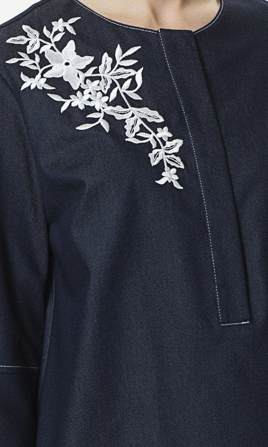 Apparel - EMBROIDERED NAVY DRESS