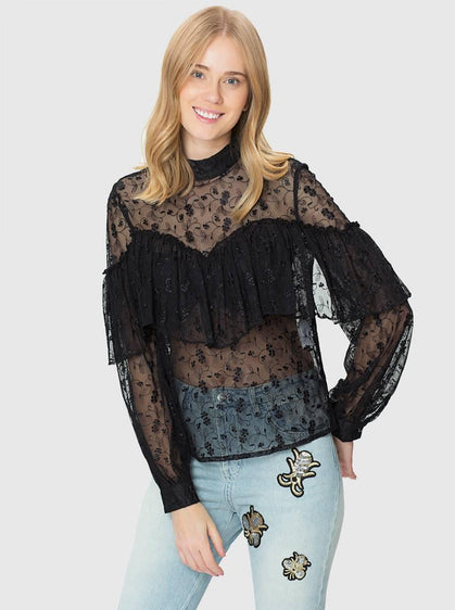 EMBROIDERED TRANSPARENT TOP