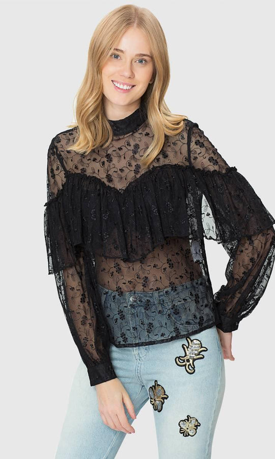 Apparel - EMBROIDERED TRANSPARENT TOP