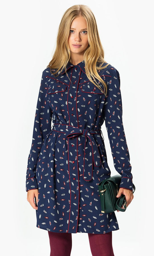 Apparel - Feather Print Shirt Dress