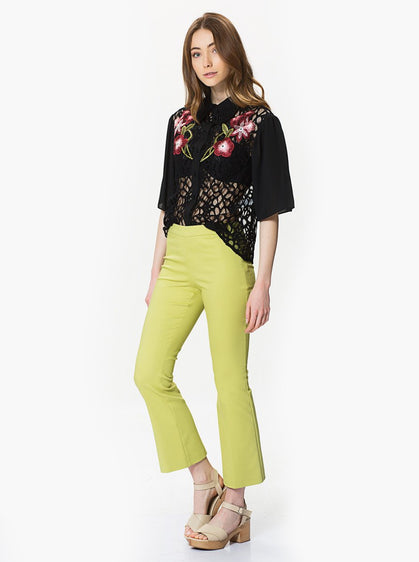 ROMAN USA-Lime Green Flared Crop Pants-