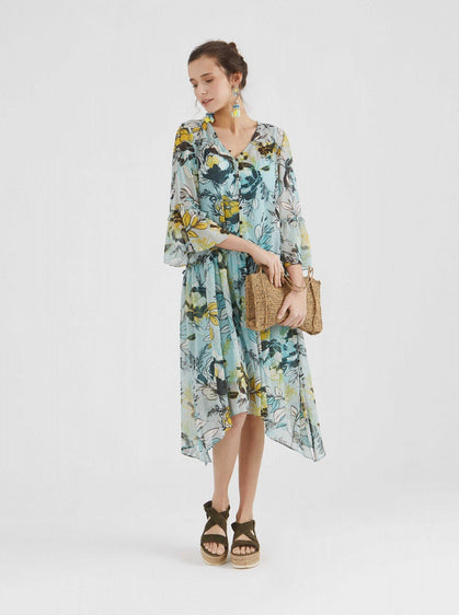 FLORAL BUTTON DETAILED DRESS