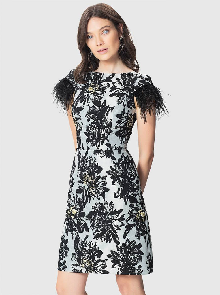 Apparel - FLORAL DRESS WITH FEATHERS