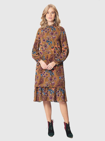 ROMAN USA-Burnt Orange Floral Dress-- [PRINT]