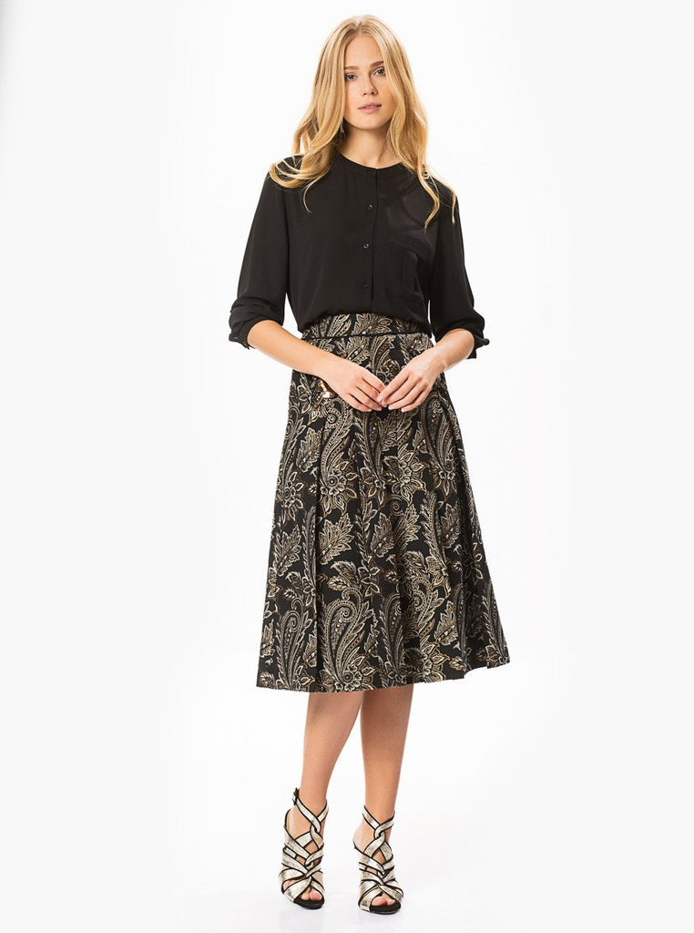 Apparel - FLORAL SEQUIN DETAIL BLACK SKIRT