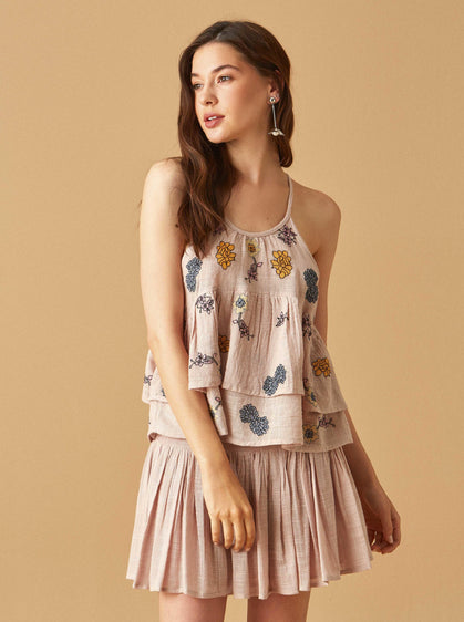 ROMAN USA-FLOWER EMBROIDERY BLOUSE-- [PINK]